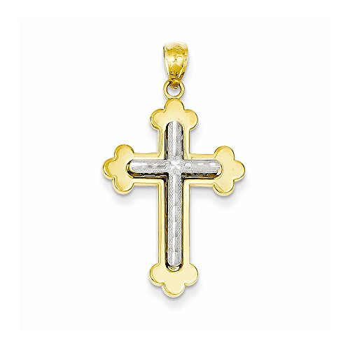 14k Two-tone Dia-Cut Cross Pendant, Best Quality Free Gift Box