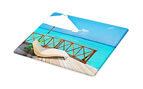 Lunarable Coastal Cutting Board, Parasol and Chaise Lounges and Deckchair on Terrace of Water Villa Maldives, Decorative Tempered Glass Cutting and Serving Board, Small Size, Aqua White (Original White Outdoor Chaise Lounge)