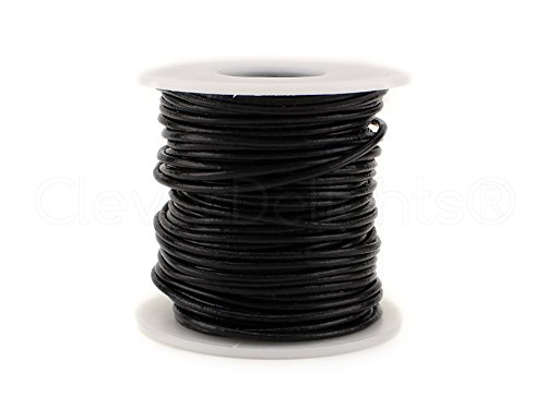 CleverDelights Black Round Premium Genuine Leather Cord - 2mm - 10 Meters (11 Yards) - Beading ()