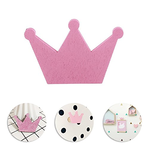 Mexidi Crown Wall Hook,Wall Hanger Clothes Organizer for Coat Hat Clothing Towel Home Decor Wall Stickers Baby Kids Boys Girls Bedroom Decoration (Wooden-Pink)