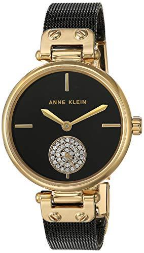 Anne Klein Women's Swarovski Crystal Accented Gold-Tone and Black Mesh Bracelet Watch