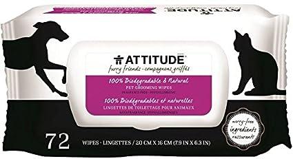 ATTITUDE - Toallitas Higienicas Naturales para Perros - - Sin fragancia - Hipoalergénico - 100%