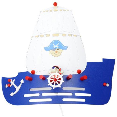 Elobra Kinder Lampe Wandlampe Piratenschiff Wandleuchte Kinderzimmer Holz, dunkelblau 125793
