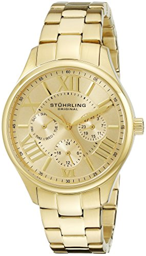 Stuhrling Original Women's 391L.03 Symphony Regent Majestic Quartz Day and Date Gold-Tone Bracelet Watch