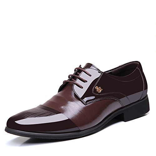 OUOUVALLEY Mens Patent Leather Tuxedo Dress Shoes Lace up Pointed Toe Oxfords 1877 Brown 12D(M) - Dress Shoes Elegant Brown Leather