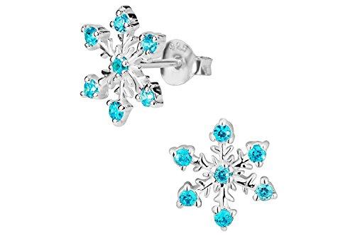 Hypoallergenic Sterling Silver Blue Cubic Zirconia Snowflake Stud Earrings for Kids (Nickel Free)
