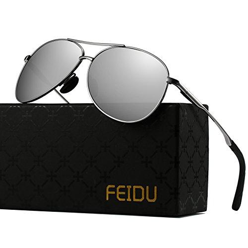 (Polarized Sunglasses Aviator Sunglasses for Men - FEIDU Polarized Aviator Sunglasses for Men Sunglasses Man FD9002 (silver-1, 62))