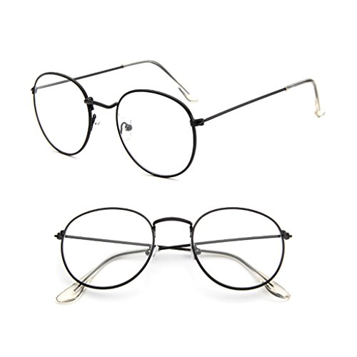 Misright Vintage Men Women Eyeglass Metal Frame Glasses Round Spectacles Clear Lens Optical (Bright - Frames Round Spectacles Shaped