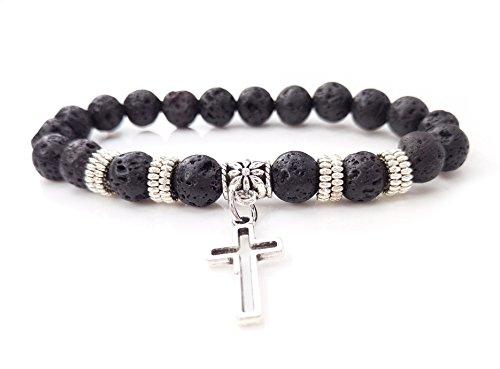 (Volcano stone bracelet Cross Pendant)
