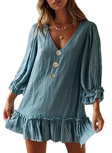 Trim Coat Ruffle - CILKOO Women Ruffle Long Sleeve TieBlue Casual Mini Dress PleatedLooseSwingCasualPlainTShirtMini Dresses Shift Dress Blue US8-10 Medium