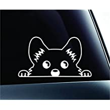 Corgi Peeking Dog Symbol Decal Funny Car Truck Sticker Window (White), Decal Sticker Vinyl Car Home Truck Window Laptop