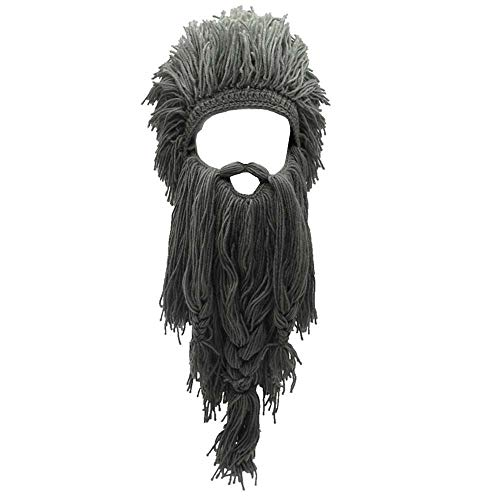 Flyou Wig Beard Hats Handmade Knit Warm Winter Caps Ski Funny Mask Beanie for Men Women (Crazy Gray)