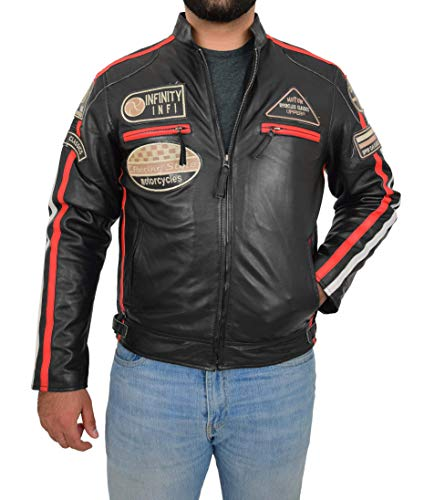 - Mens Real Leather Biker Jacket Motorsport Racing Style Slim Fit Ken Black (Medium)