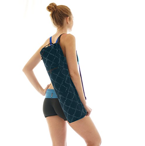Large Yoga Mat Bag Large Zipper Front Pocket - Vintage Denim