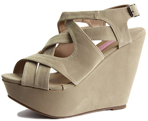 NEW WOMENS LADIES LOW MID HIGH HEEL STRAPPY WEDGES PEEP TOE SUMMER PLATFORM SANDALS SHOES SIZE Style 3 - Beige
