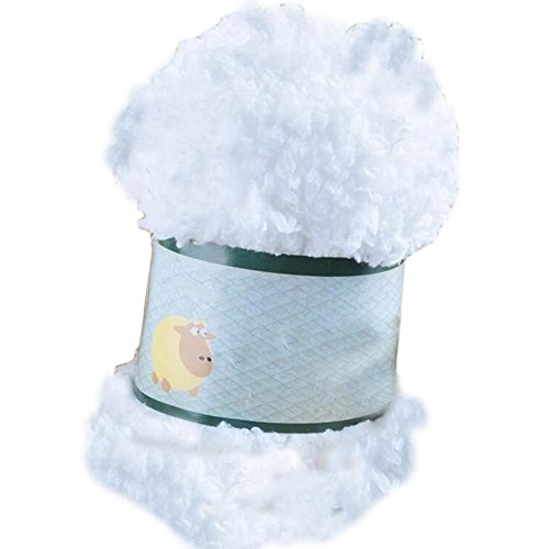 Baby Warm Soft Chenille Knitting Yarn Ball Wool Craft for Towel Coat Sweater DIY Tool (White)