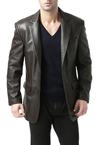 BGSD Men's Richard Classic 2-Button Lambskin Leather Blazer Dark Brown Big and Tall 2XLT (2xlt Trench Coat)
