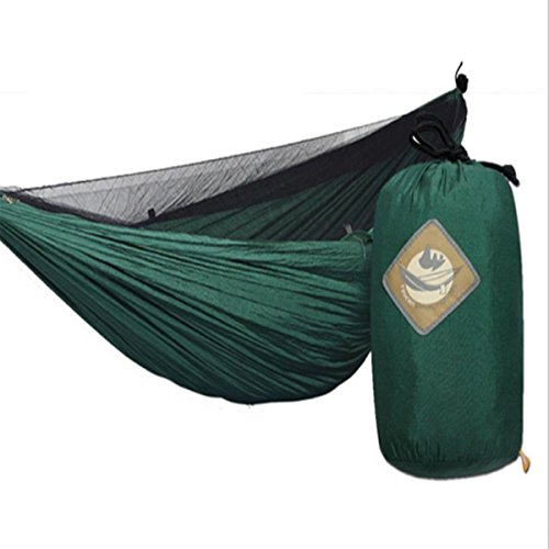 Price comparison product image Double Camping Hammock with Mosquito Net Lightweight Parachute Fabric Hammock for Traveling Hiking Backpacking
