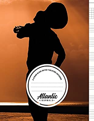 6 String Blank Guitar Tablature Notebook - Sunset Sea: 100 Pages ...
