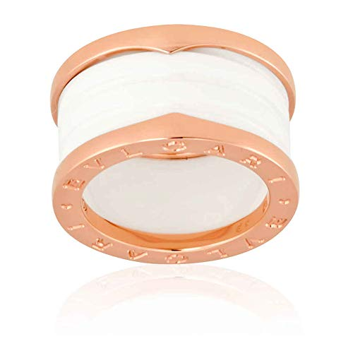 Ring Inspired Bvlgari (BVLGARI B.Zero1 18K Pink Gold and White Ceramic 4-Band Ring Size 6.25)
