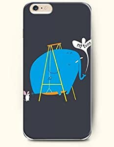 iPhone 6 Case,OOFIT iPhone 6 (4.7) Hard Case **NEW** Case with the Design of My Turn-Blue Elephant Is Playing on a Swings - ECO-Friendly Packaging - Case for Apple iPhone iPhone 6 (4.7) (2014) Verizon, AT&T Sprint, T-mobile
