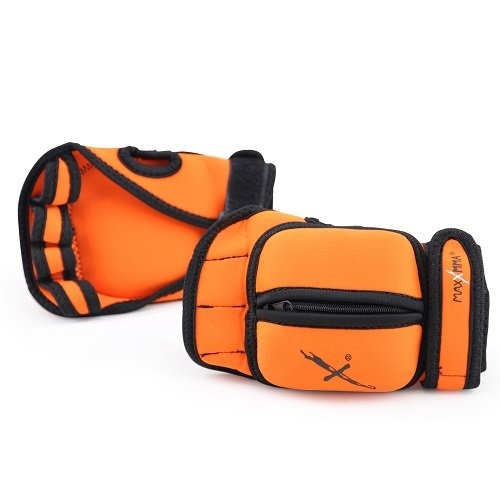 MaxxMMA 5 lbs Adjustable Ankle Weights Pair + 2 lbs Weighted Gloves (Orange)