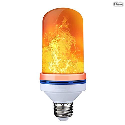 Bombilla led, Gloriz LED Flame Effect Fire Light Bulb, 4 Modos E26 Bombilla Decorativa de Ambiente de Fuego, Luz de Llama...