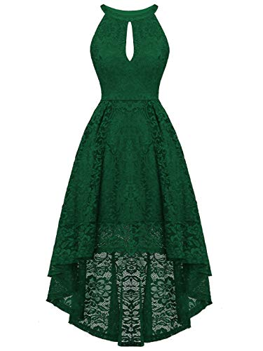 - FAIRY COUPLE Woman's Hi-Low Halter Neck Vintage Wedding Party Cocktail Dress DL022(XL,B Green)