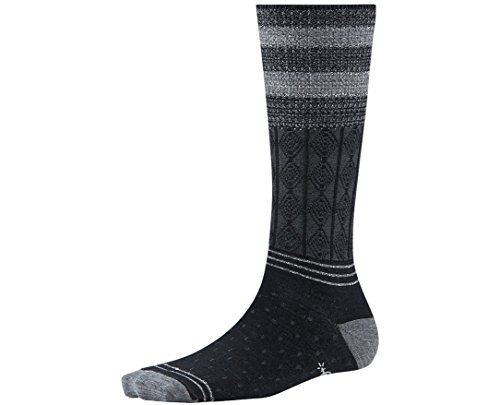 Smartwool Women's Metallic Striped Cable Mid Calf Socks (Black) Medium (Womens Smartwool Cable Socks)