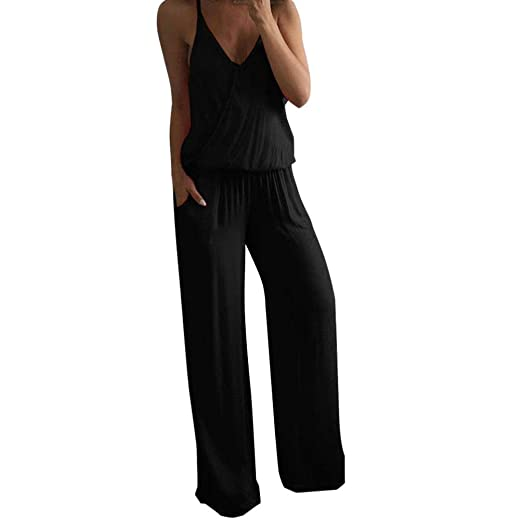 13cfeefc959 Amazon.com  Rambling Women Summer Solid Sleeveless Wide Leg Jumpsuit ...