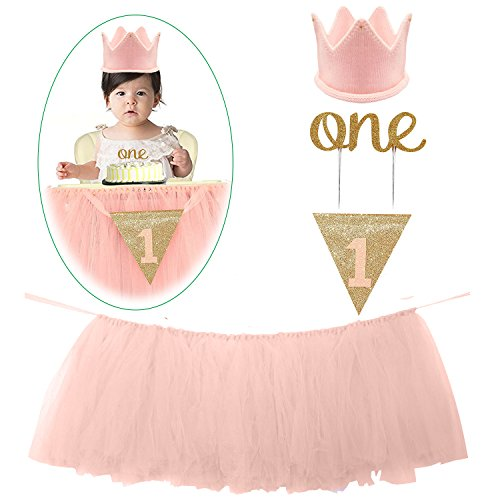 1st Birthday Decorations Set - 1st Birthday Baby pink Tutu Skirt for High Chair,
