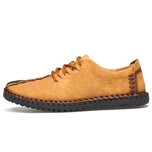 Driving Sneaker - Suede Casual Shoes Men's British Style Handmade Leather Oxford Shoes Flats Lace-up Loafers Flats Sneakers(Yellow,US8)