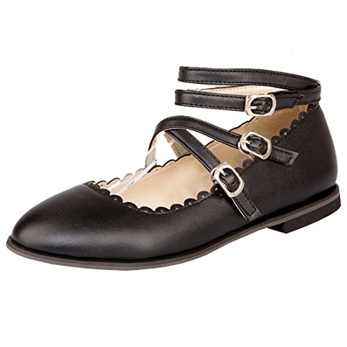 - Atyche Women's Flats Mary Janes Strappy Shoes Closed Toe Ankle Strap Dolly Summer Shoes Black