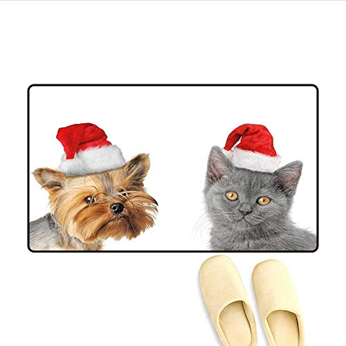 Bath Mat Adorable Cat and Dog with Xmas Hats Domestic Pet Animals Holiday Celebration Doormat Outside Orange Grey Red 32
