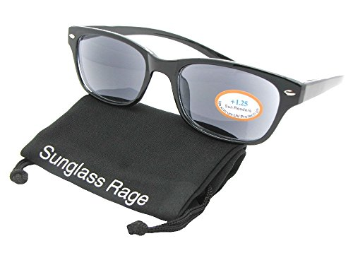 Convenient Reading Sunglasses With Sunglass Rage Pouch (Black Frame-Gray Lenses, (Rage Gray Sunglasses)