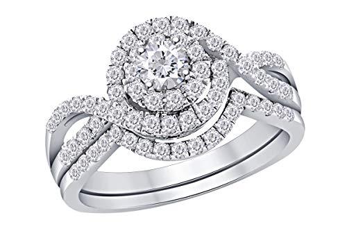 Wishrocks 1.00 Cttw Round Natural Diamond Swirl Bridal Wedding Engagement Ring In 14k White Gold Band Set Ring Size-8