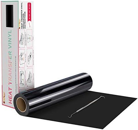 "HTVRONT Black Heat Transfer Vinyl Rolls - 12"" x 20ft Black HTV Vinyl for Shirts, Black Iron on Vinyl for All Cutter Machine - Easy to Cut & Weed for DIY Heat Vinyl Design"