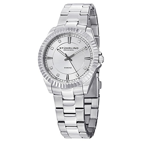 Stuhrling Original Women's 408LD.01 Aquadiver Marine Diamond Analog Display Swiss Quartz Silver Watch