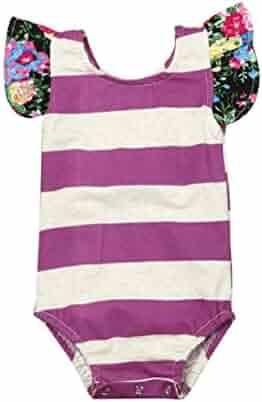 5960af7e11ed Vovomay Newborn Baby Girls Stripe Floral Outfit Romper Jumpsuit Clothes  Sunsuit