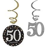 Amscan Party Supplies Sparkling Celebration 50 Value Pack Foil Swirl Decorations (12 Piece), Multi Color