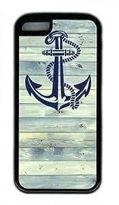 Anchor on wood customized Iphone 5C TPU Black Case
