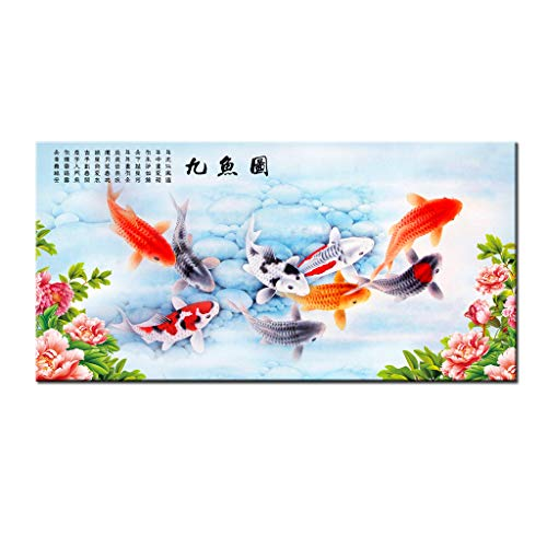 Art Wall China/'s wind Feng Shui Fish Koi painting Printed on canvas Home Decor