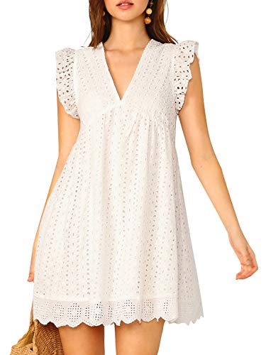 - DIDK Women's Boho Ruffle Armhole Sleeveless V Neck Eyelet Embroidery Smock Dress White Medium