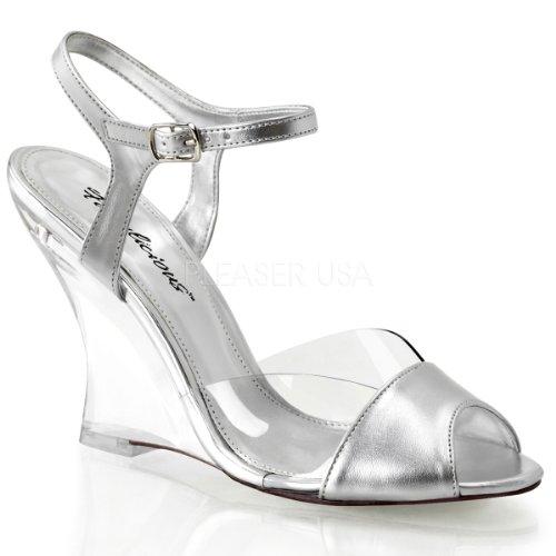 Fabulicious Lovely-442 sexy High Heels Wedge Sandaletten Transparent Gold Metallic 35-42 Clr-Slv Metallic Pu/Clr