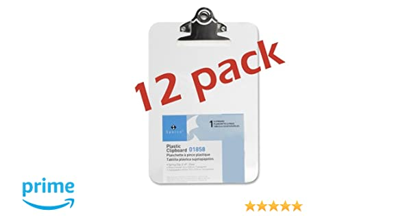 Clear 12 pack Transparent Plastic Clipboard SPR01858 6 x 9 Inches