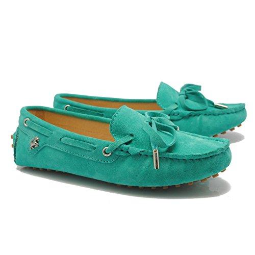 Minitoo Girls Womens Casual Comfortable Suede Leather Knot Loafers Boat Shoes Flats Green RnEPzPtd