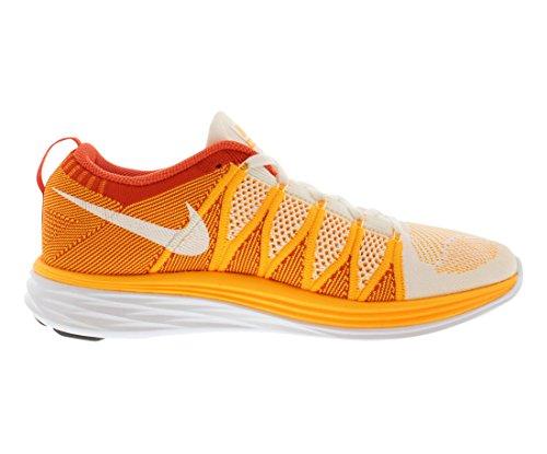 Nike Nike Flyknit Lunar2 Chaussures De Course. Taille 11. Blanc / Blanc-laser Orange-équipe Orange