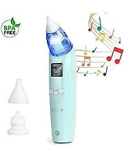 INTEY Nasensauger baby, 3 Saugstärken und 2 verschiedene Saugspitzen, elektrisch Nasensekretsauger, LCD Bildschrim mit Licht und Musik, Sicherer und Schneller, Tragbar Nasensauger, Batteriebetrieben