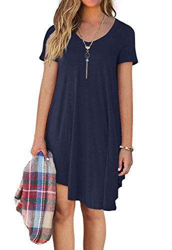 Women's Short Sleeve Casual Loose T-Shirt Dress Navy Blue XL