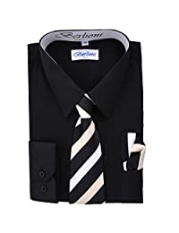 Black Boys Fashion Solid Dress Shirt Tie and Hanky Set